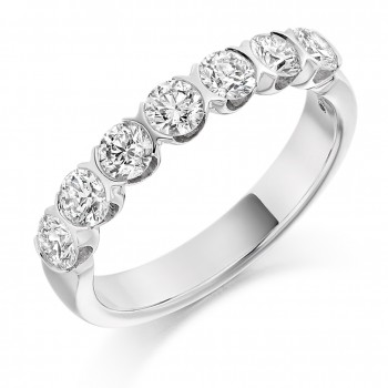 Platinum 7-Stone Diamond Half Rubover Eternity Ring