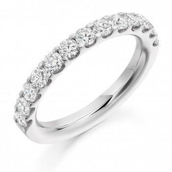 Platinum 13-stone 1.00ct Diamond Cut Out Eternity Ring