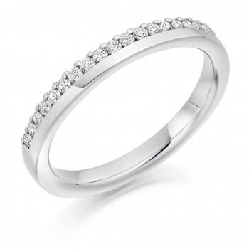 Platinum Diamond Offset Clawed Wedding Ring