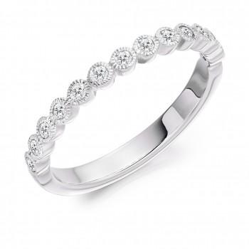 Platinum 13-stone Diamond Rubover Eternity Ring