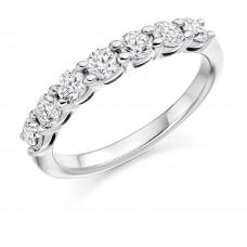 Platinum 7-Stone .75ct Diamond Claw set Eternity Ring