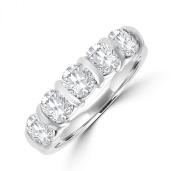 Platinum 5-stone Diamond Bar set Eternity ring