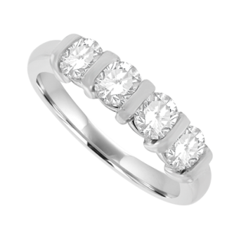 Platinum 4-stone Diamond Bar set Eternity Ring