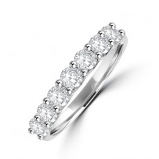 Platinum 7-stone Diamond V-mount Eternity Ring