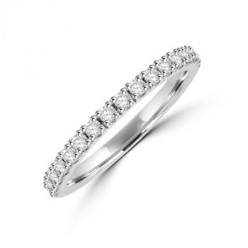 Platinum 19-stone Diamond Castle set Wedding Ring