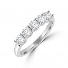 Platinum 5-stone Diamond V-shaped Claw Eternity Ring