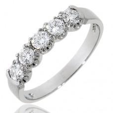 Platinum 5-stone Diamond Loopy Claw Eternity Ring