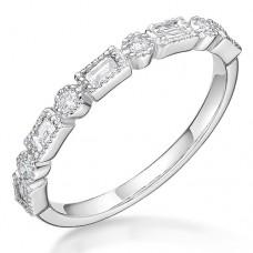 Platinum Diamond Baguette & Brilliant cut Petal Eternity Ring