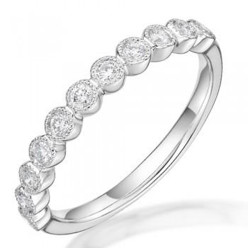 Platinum .24ct Diamond Millgrain Eternity Ring
