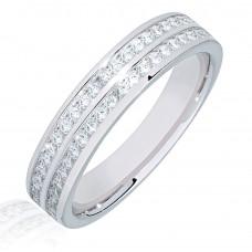 Platinum Double Row Princess cut Diamond Eternity Ring