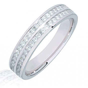 Platinum Double Row Princess cut Diamond Eternity Ring
