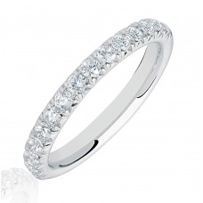 Platinum .50ct Diamond French Pave Eternity Ring