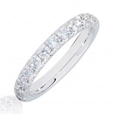 Platinum .75ct Diamond French Pave Eternity Ring