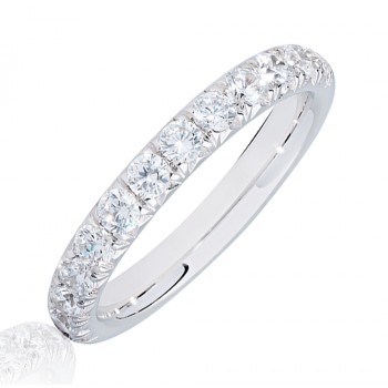 Platinum .75ct Diamond French Pave Eternity Ring
