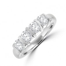 Platinum 4-stone 1.50ct Diamond Bar Set Eternity Ring