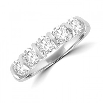 Platinum 5-stone 1.00ct Diamond Bar Set Eternity Ring