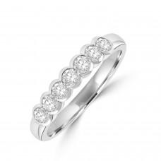 Platinum 7-stone .44ct Diamond Rubover Eternity Ring