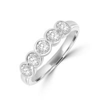 Platinum 5-stone .73ct Diamond Rubover Eternity Ring