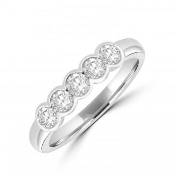 Platinum 5-stone .49ct Diamond Rubover Eternity Ring
