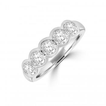 Platinum 5-stone 1.25ct Diamond Rubover Eternity Ring