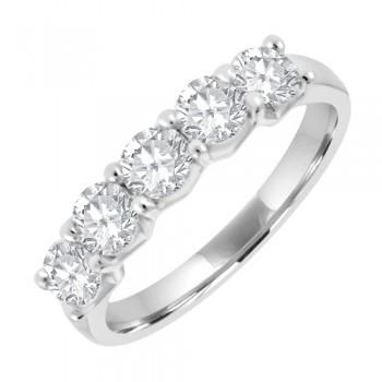 Platinum 5-stone 1.01ct Diamond V-Claw Eternity Ring
