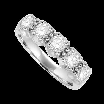 Platinum 5-stone .75ct Diamond Loopy Claw Eternity Ring