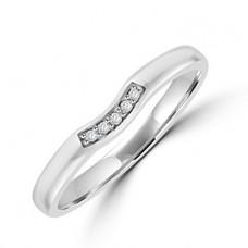 Platinum 5-stone Diamond Bow Shaped Wedding Ring