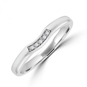 Platinum 5-stone Diamond Bow Shaped Wedding Ring