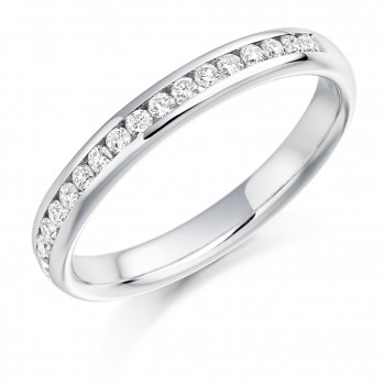 Platinum Brilliant Cut Diamond Channel Set Wedding Band.