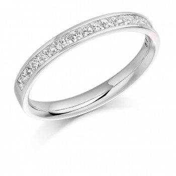 Platinum princess cut channel set wedding ring