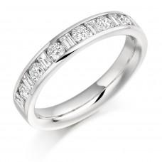 Platinum Baguette & Brilliant cut Diamond Wedding/Eternity Ring