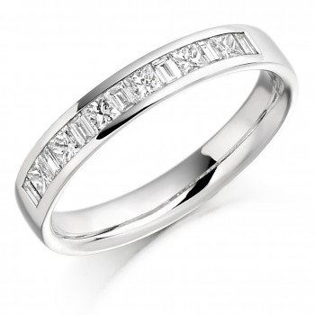 Platinum Princess cut & Baguette Diamond Wedding/Eternity Ring
