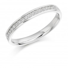 Platinum Grain Set Diamond Wedding Ring