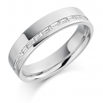 Platinum Baguette Diamond Offset Wedding Ring