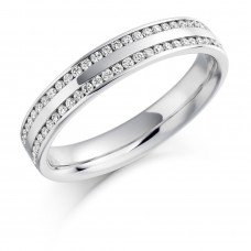 Platinum Double Row Diamond Wedding Ring