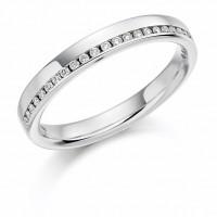 Platinum Diamond Offset Wedding Ring