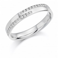 Platinum Double Row Diamond Cross over Wedding Ring