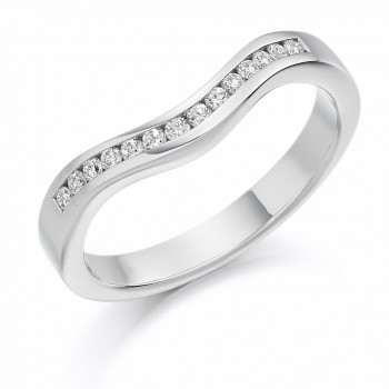 Platinum Diamond Bow Shaped Wedding Ring