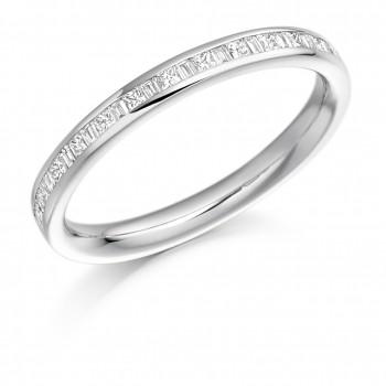 Platinum Princess & Baguette cut Diamond Wedding Ring