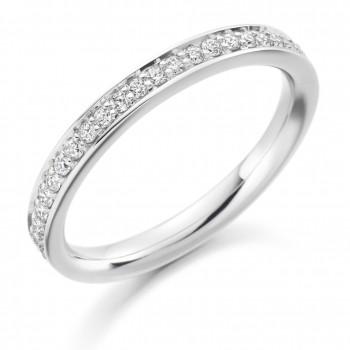 Platinum Grain set Diamond Wedding Ring