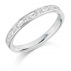 Platinum Princess cut & Baguette Diamond Wedding Ring