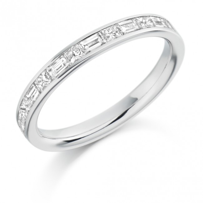 platinum princess cut baguette wedding ring
