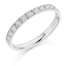 Platinum Diamond Grain Set Channel Wedding Ring