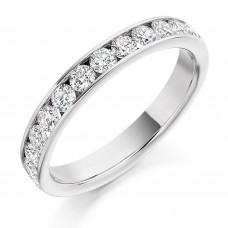 Platinum 13-stone Diamond Channel Set Wedding Ring