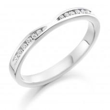 Platinum Diamond Channel Ribbon Wedding Ring