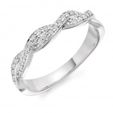 Platinum Diamond Double Row Weave Eternity Ring