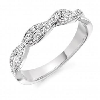 Platinum Diamond Double Row Weave Eternity Ring