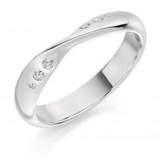 Platinum 6-Stone Diamond Twist Wedding Ring