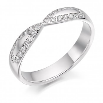 Platinum Diamond Ribbon Shaped Wedding Ring