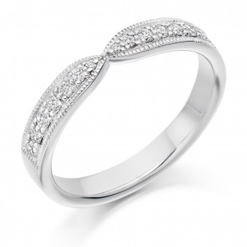 Platinum 14-stone Diamond Ribbon shaped Wedding Ring